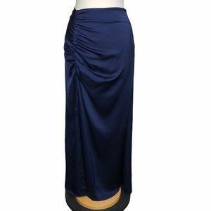 NSR navy satin crepe high slit maxi skirt